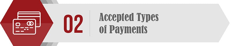 Accepted Types of Payments